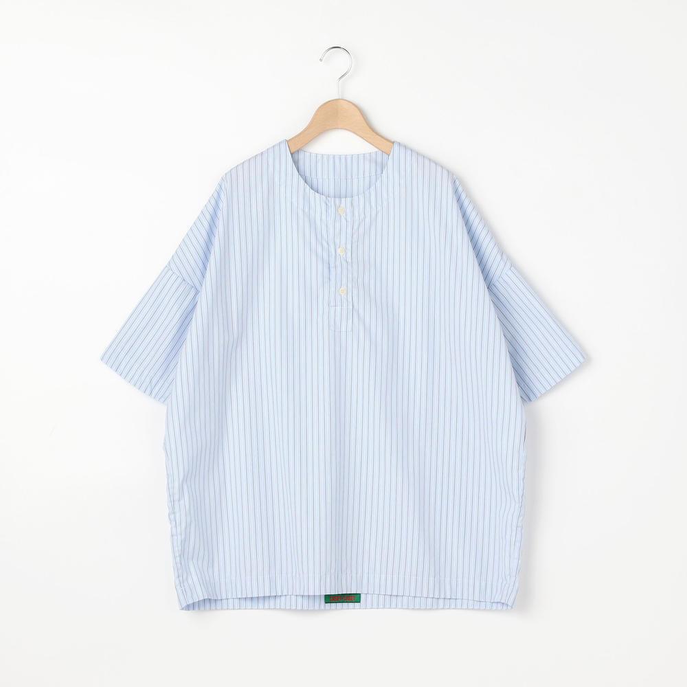 半袖ヘンリーネックストライプシャツ WOMEN