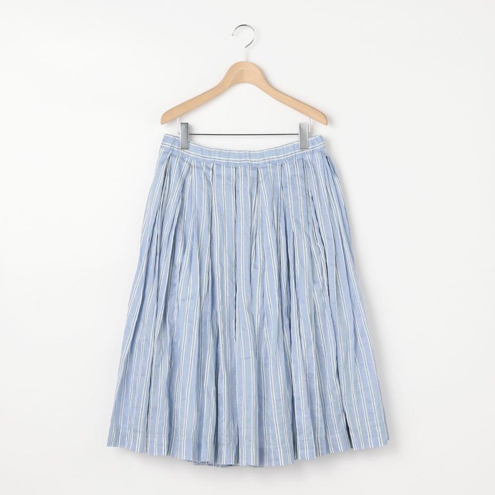 リネンシルクストライプギャザースカート WOMEN