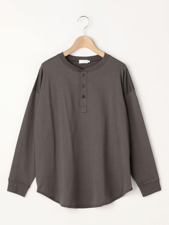 【OUTLET】ヘンリーネック ラウンドテール長袖Tシャツ WOMEN