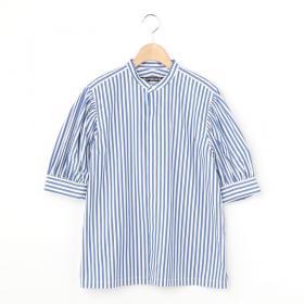 〈別注〉ギャザースリーブシャツ STRIPE WOMEN