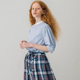 〈別注〉ギャザースリーブクレリックシャツ WOMEN