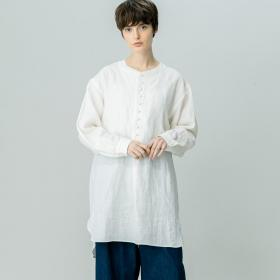 〈別注〉長袖リネンチュニックシャツ WOMEN