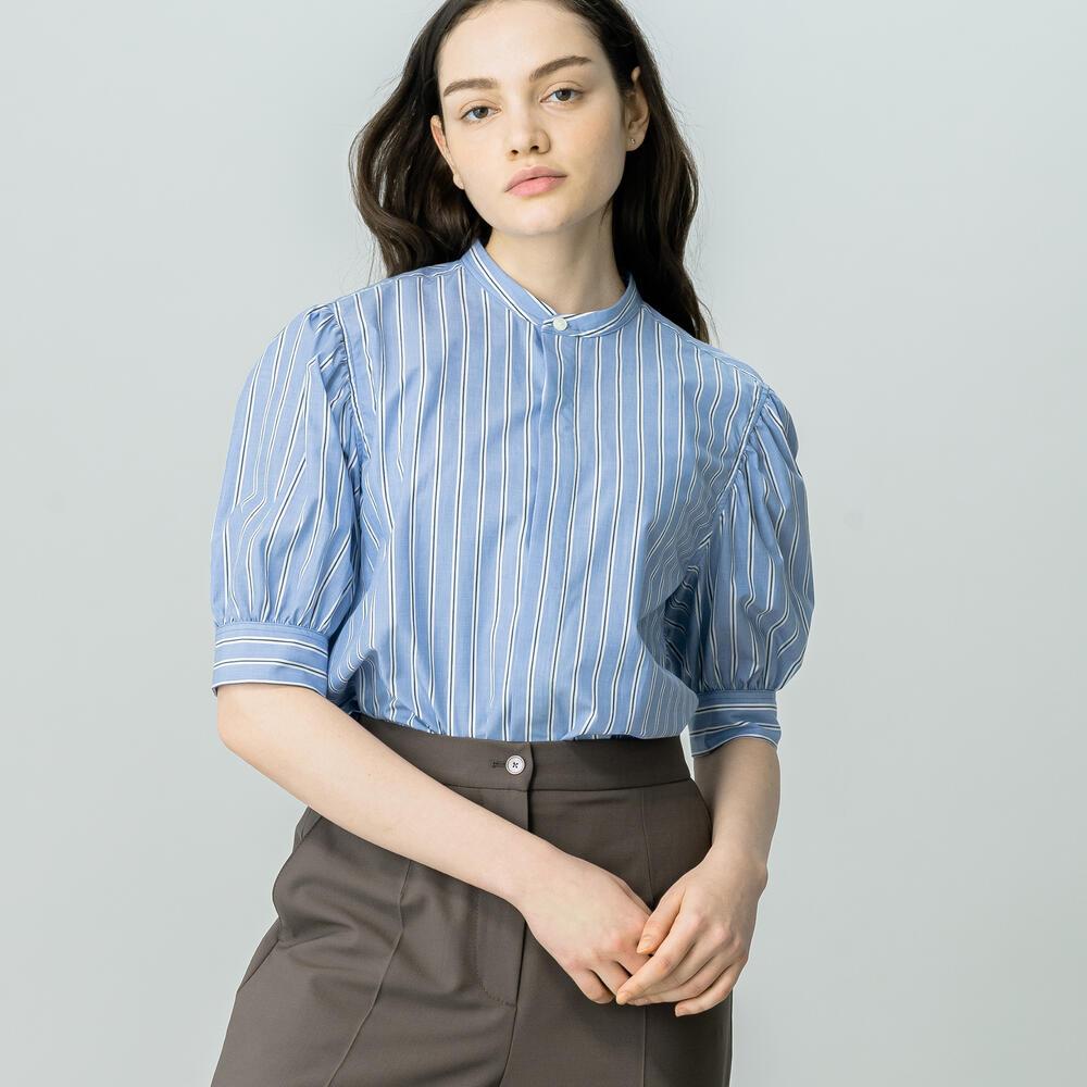〈別注〉ギャザースリーブシャツ BLUE WOMEN