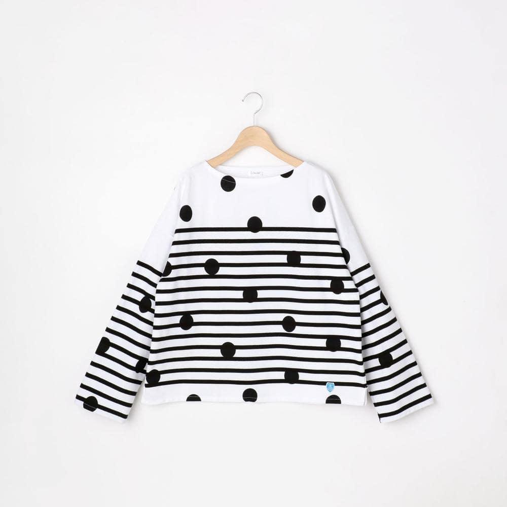 ラッセルフレンチセーラードロップショルダーTシャツ DOT/B WOMEN
