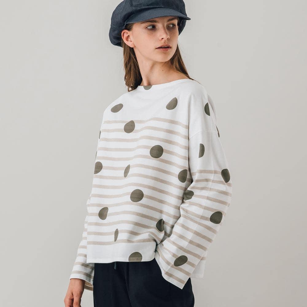 ラッセルフレンチセーラードロップショルダーTシャツ DOT/R WOMEN