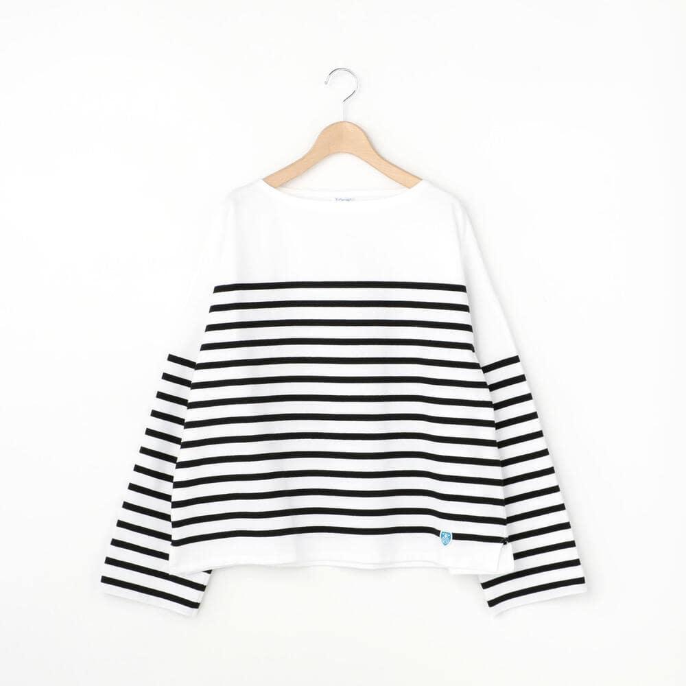 【ノベルティ対象】ラッセルフレンチセーラードロップショルダーTシャツ BLACK WOMEN