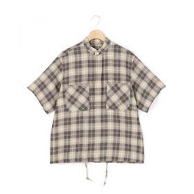 リネンチェック スタンドカラーシャツ WOMEN