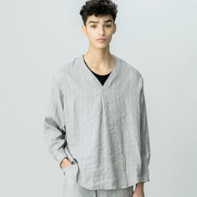 ドビーストライプVネックシャツ MEN