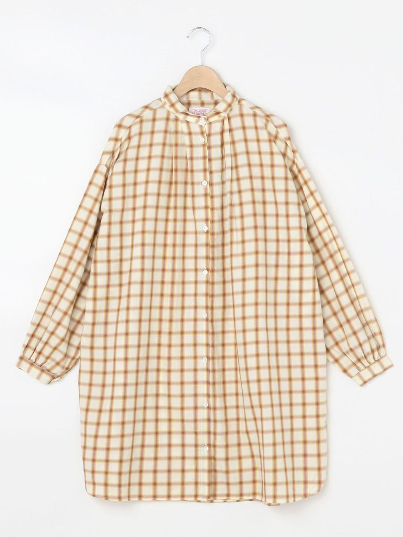 【OUTLET】ウェーブカラー ロングシャツ WOMEN