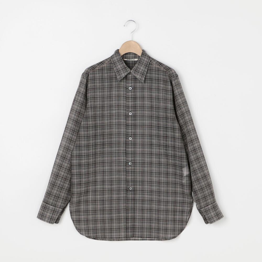 ウールポリエステル シアーチェックシャツ WOMEN