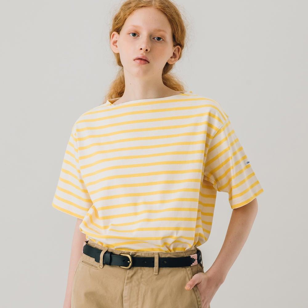 【フェア対象】コットンモヨン ボートネック半袖Tシャツ STRIPE WOMEN