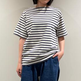 コットンモヨン ボートネック半袖Tシャツ STRIPE WOMEN