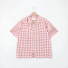 フロントジップシャツ Gingham MEN