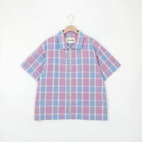 フロントジップシャツ Check MEN