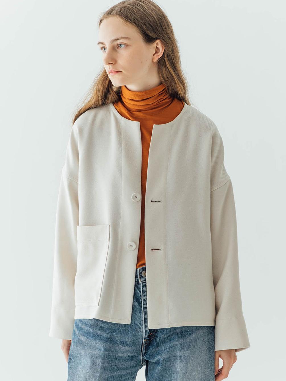 タスランツイル カラーレスシャツジャケット WOMEN
