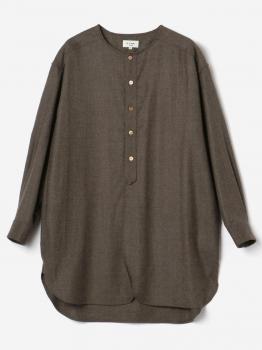 【先行予約】ギャザーノーカラーシャツ SOLID WOMEN
