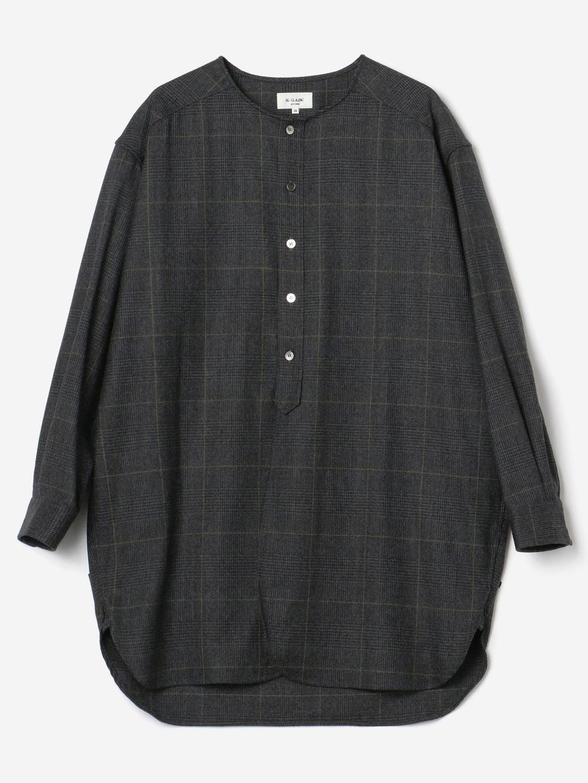 LE GLAZIK(ル グラジック)ギャザーノーカラーシャツ CHECK WOMEN