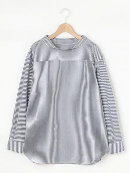 ストライプモックネックプルオーバーシャツ WOMEN