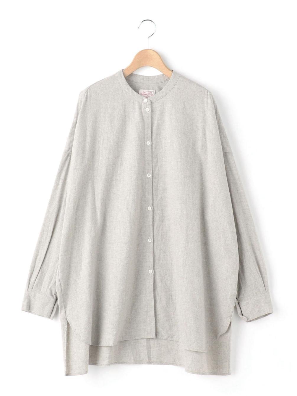 ラージバンドカラーシャツ コットンフランネル WOMEN