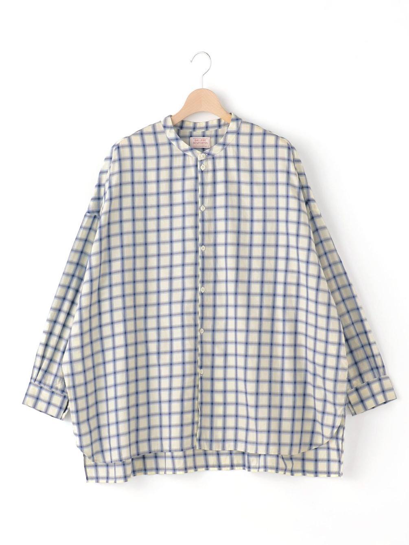 ラージバンドカラーシャツ コットンフランネル MEN