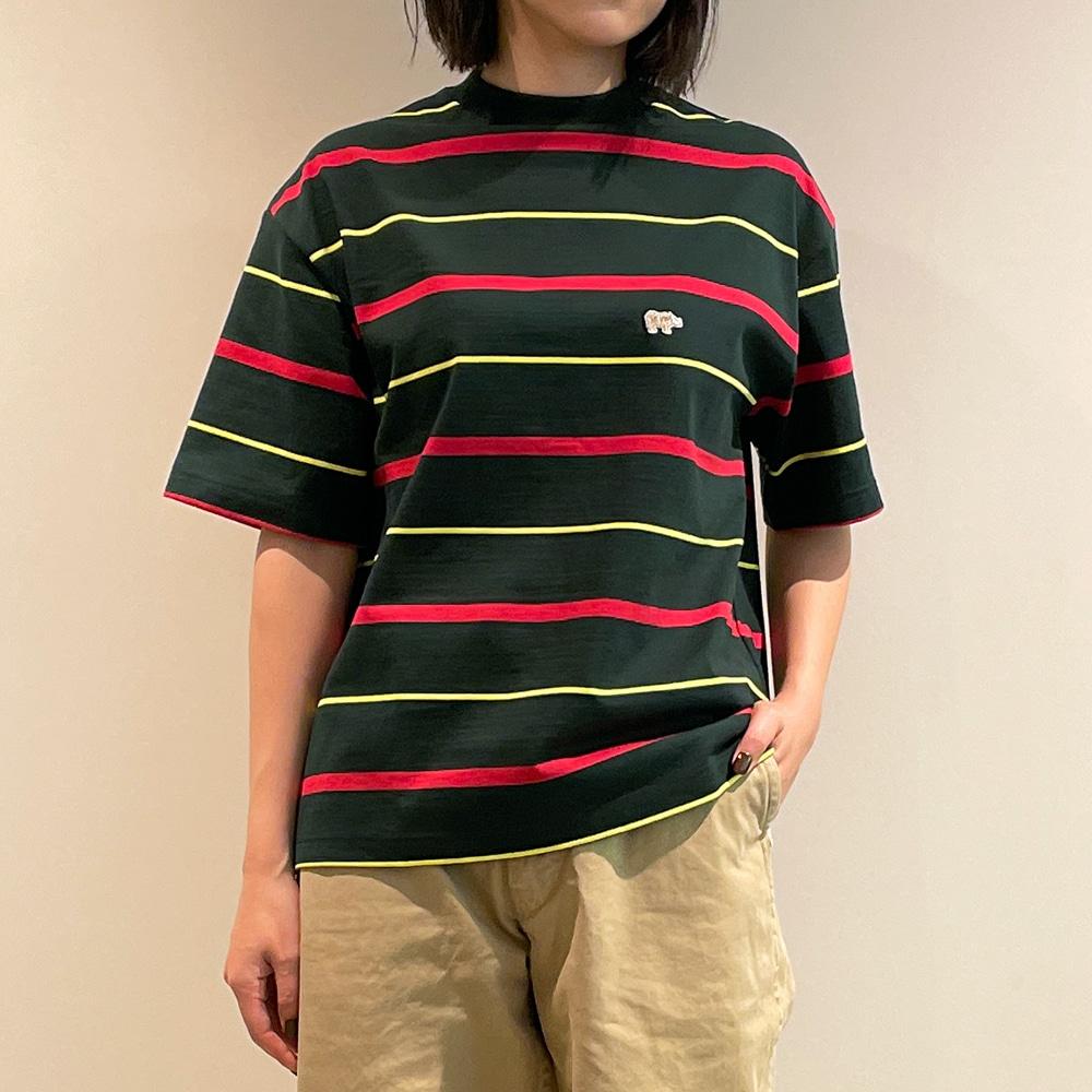 〈別注〉マルチボーダーTシャツ GREEN WOMEN