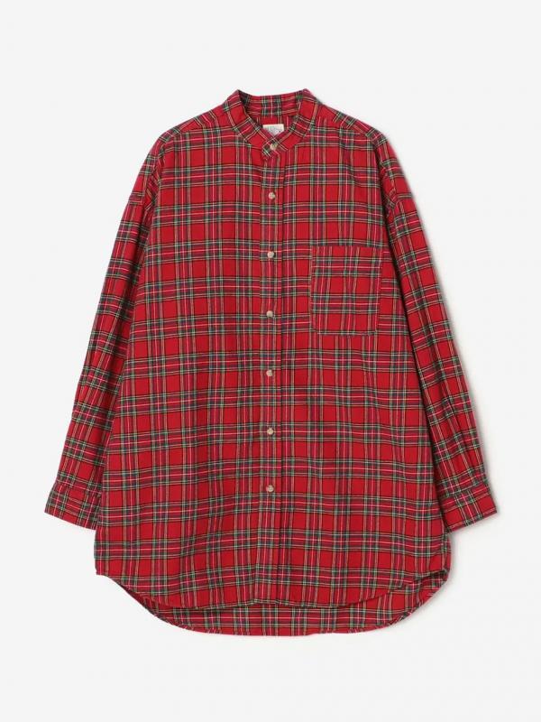 orSlow(オアスロウ)ルーズフィットスタンドカラーシャツ RED WOMEN