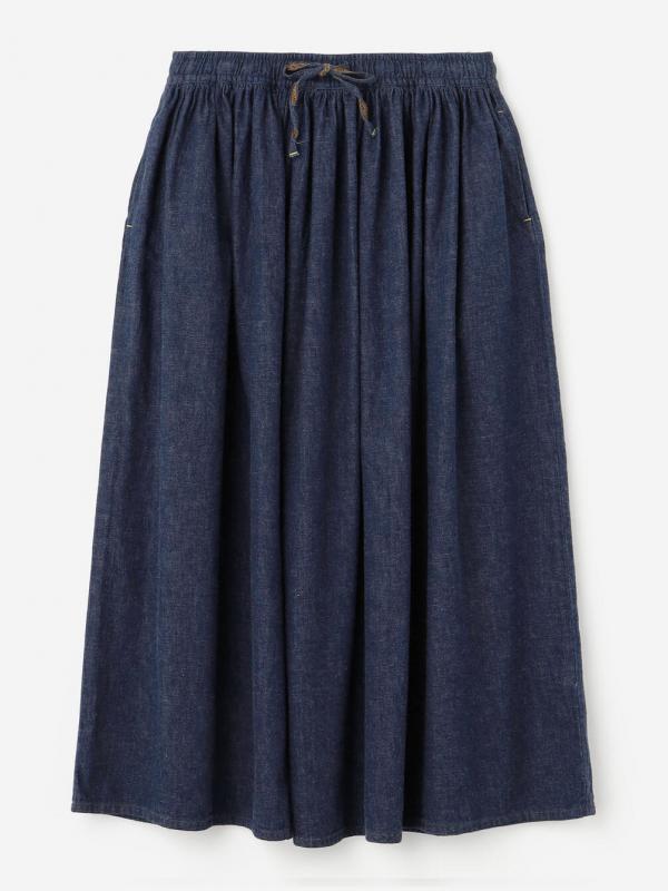 orSlow(オアスロウ)ギャザーロングデニムスカート WOMEN