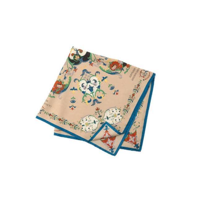manipuri(マニプリ)シルクスカーフ オーナメント花柄 65×65
