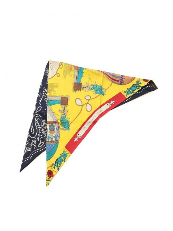 manipuri(マニプリ)〈別注〉三角シルクスカーフ フラワーバルーン×カレイドバンダナ