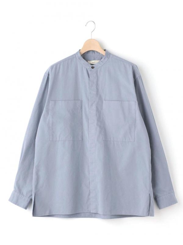 unfil(アンフィル)エジプトコットンサテン バンドカラーシャツ MEN