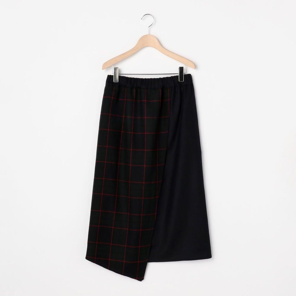 チェック コンビネーションスカート WOMEN