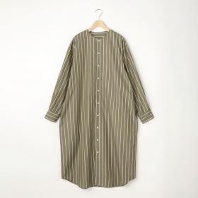 ノーカラーシャツドレス STRIPE WOMEN