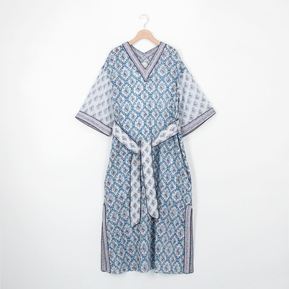 ブロックプリントドレス Mabel WOMEN