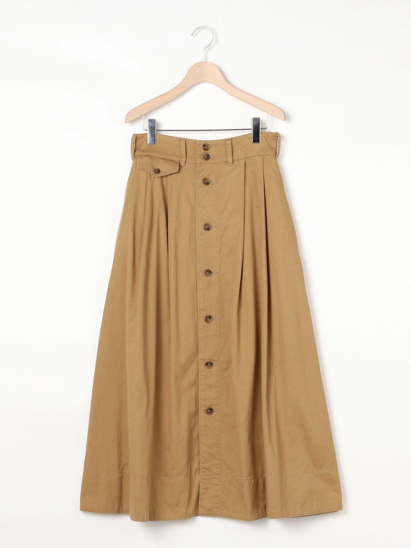 【OUTLET】〈別注〉コットンツイル ボタンフレアスカート WOMEN