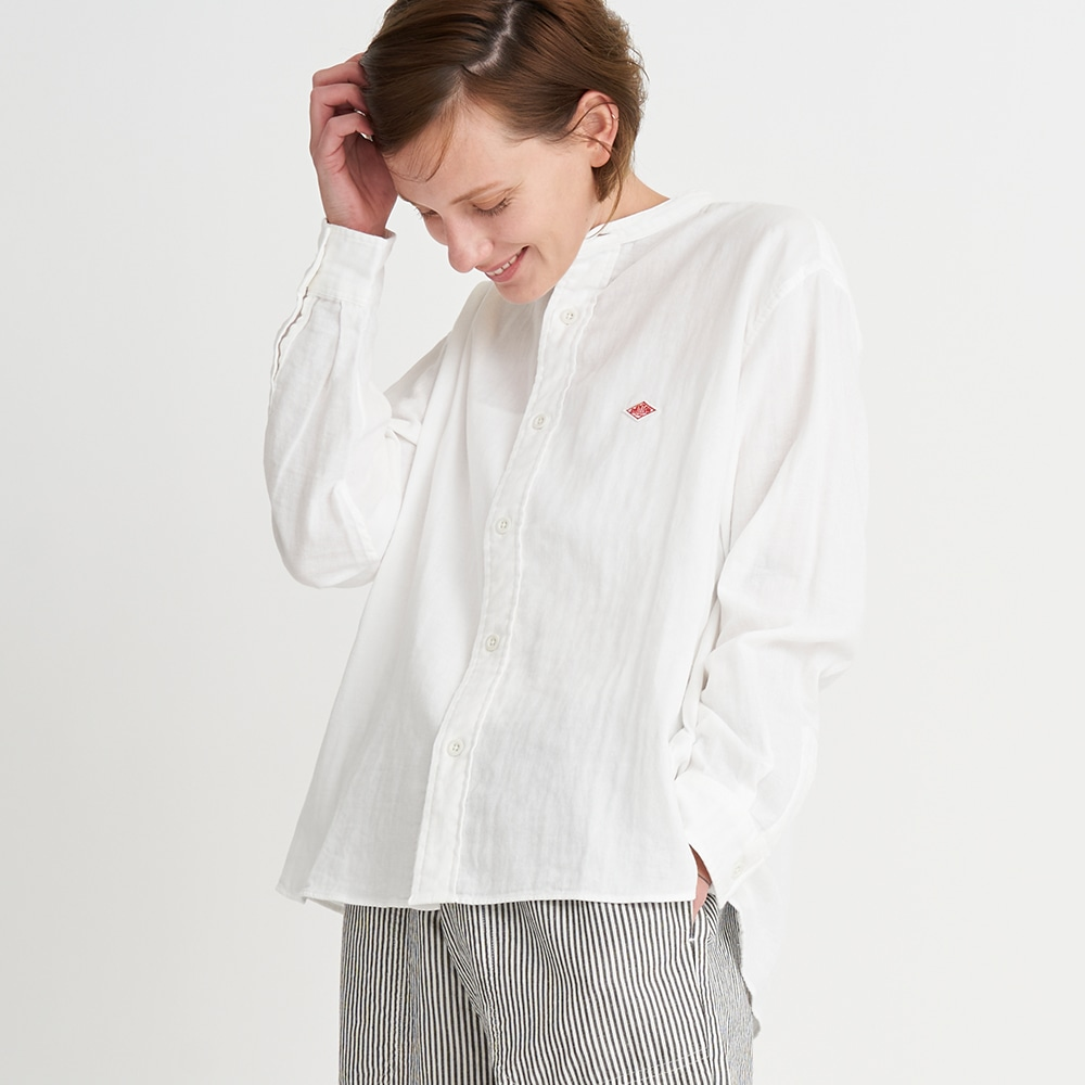 ダブルガーゼ バンドカラーシャツ WOMEN