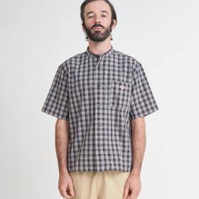 半袖バンドカラーワークシャツ CHECK MEN