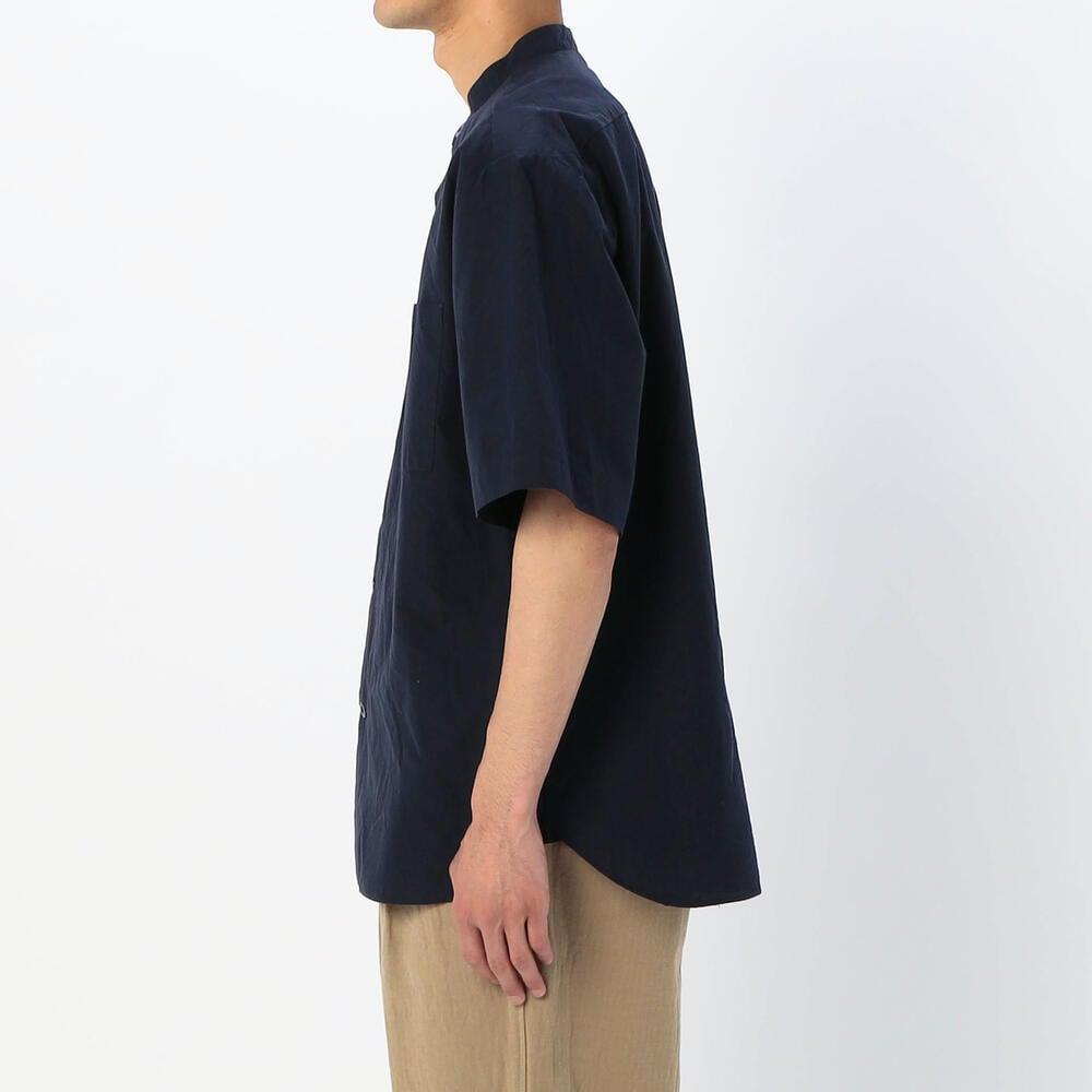 半袖バンドカラーワークシャツ SOLID MEN