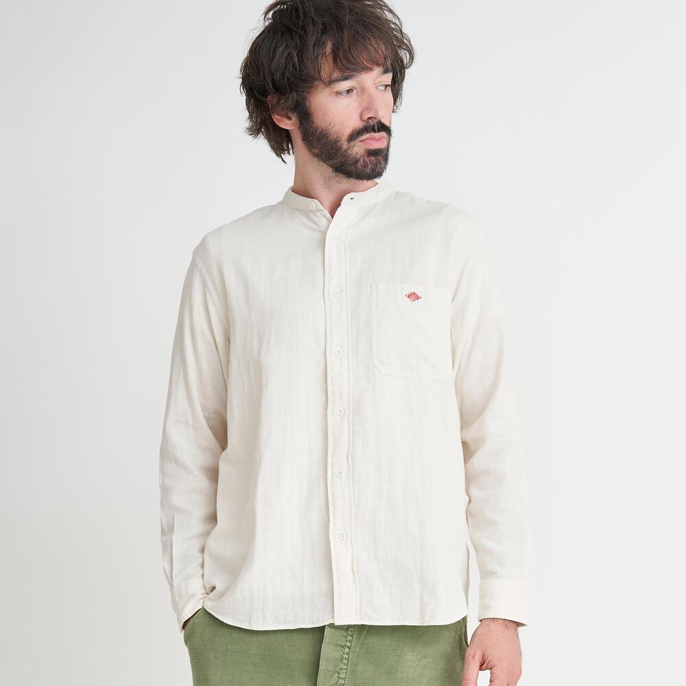 ダブルガーゼ バンドカラーシャツ MEN