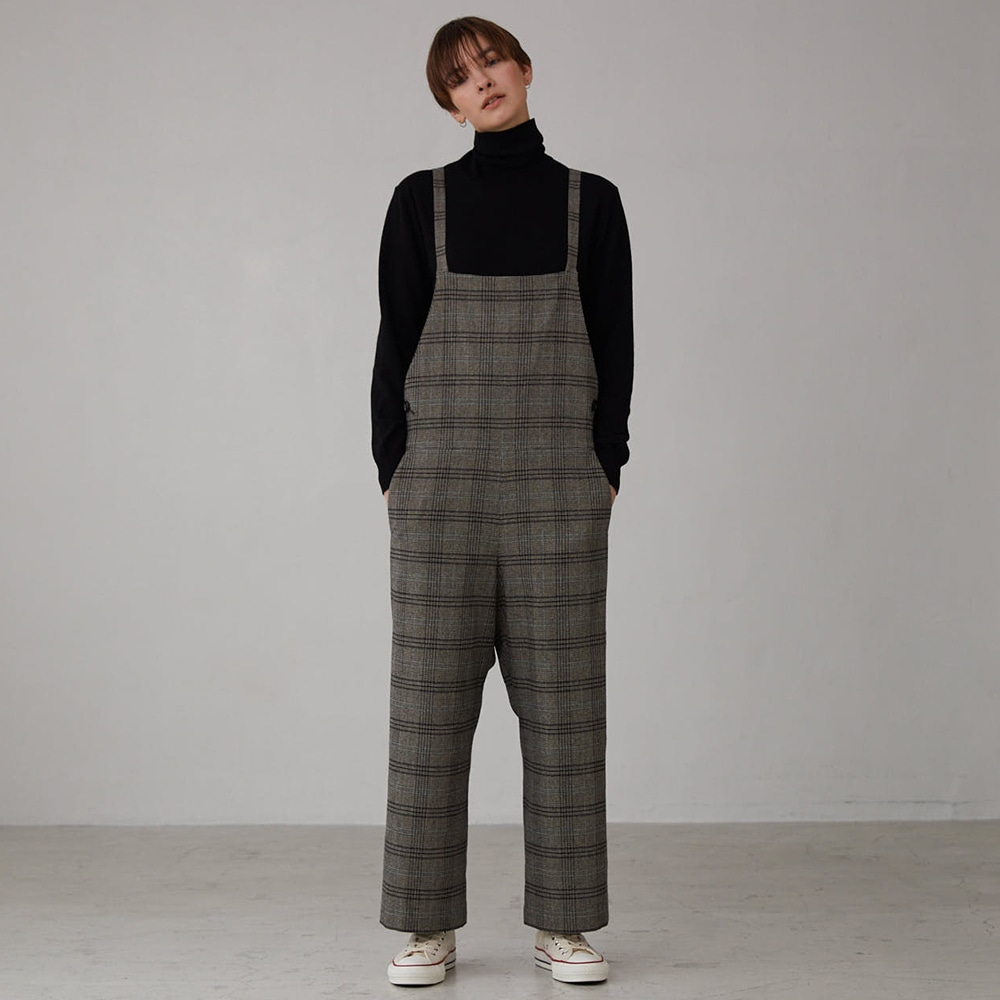 ()【OUTLET】ウールミックスツイード サロペット CHECK WOMEN