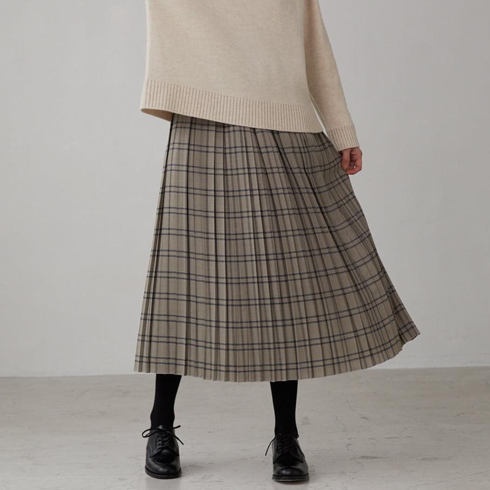 ウールチェック タックギャザープリーツスカート WOMEN