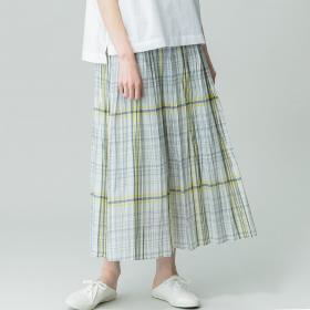 【先行予約】【LE GLAZIK】ローンチェックプリーツスカート WOMEN