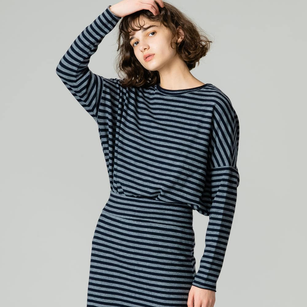 【OUTLET】ウールジャージーTシャツ STRIPE WOMEN