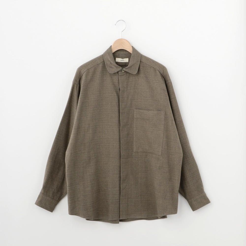 コットンフランネル 丸襟シャツ MEN