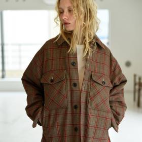 チェックウールシャツジャケット WOMEN