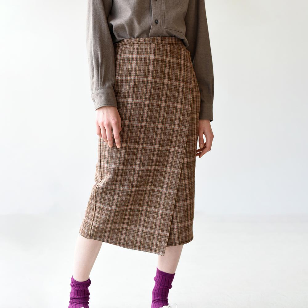 チェックウールスカート WOMEN