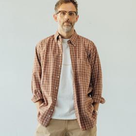 〈別注〉オーバーサイズボタンダウンシャツ BRN-CHK MEN