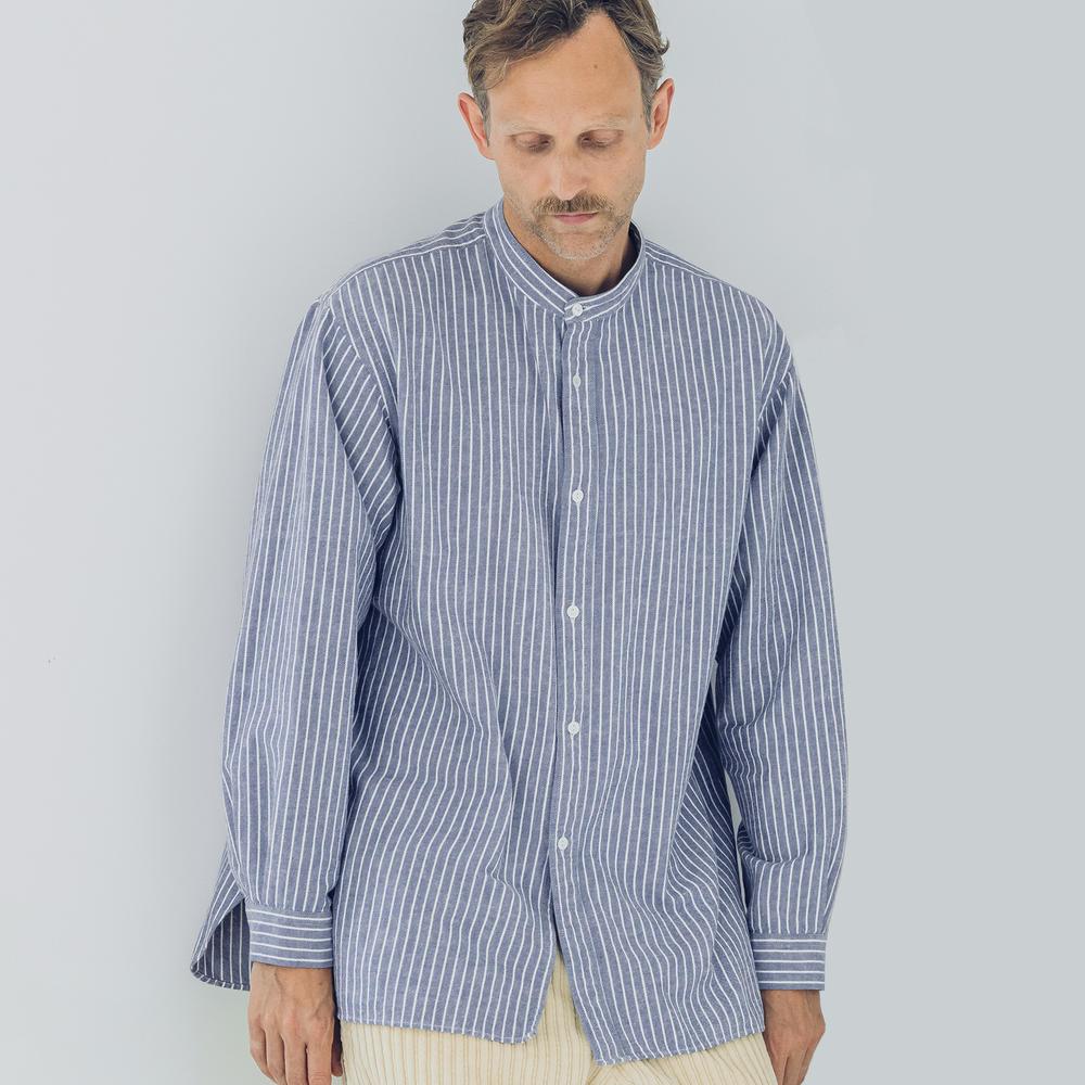 コットンフランネル バンドカラーシャツ MEN