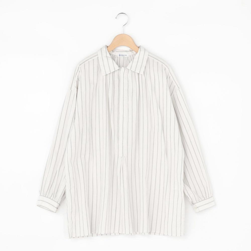 【フェア対象】ギャザープルオーバーシャツ WHITE×GREY WOMEN
