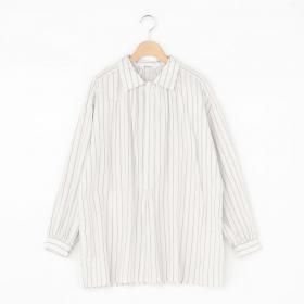 ギャザープルオーバーシャツ WHITE×GREY WOMEN