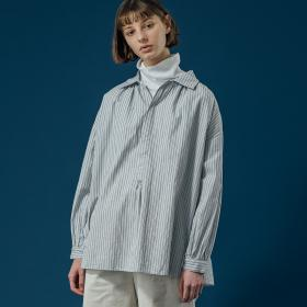 ギャザープルオーバーシャツ WHITE×BLUE WOMEN